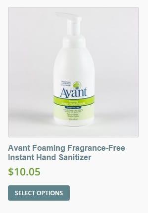 Avant hand sanitizer foam