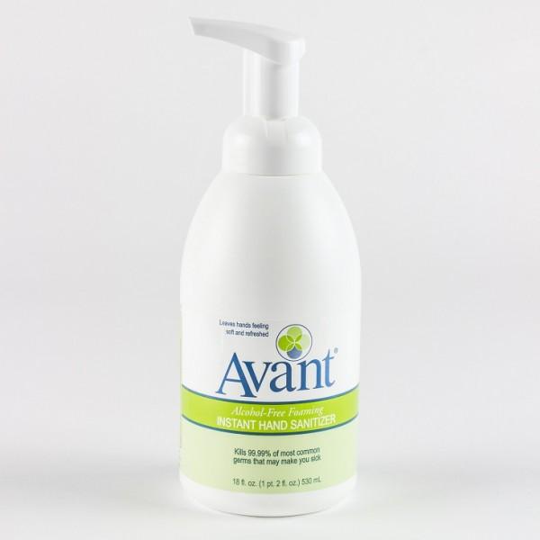 18 oz pump bottle of Avant alcohol-free foaming hand sanitizer