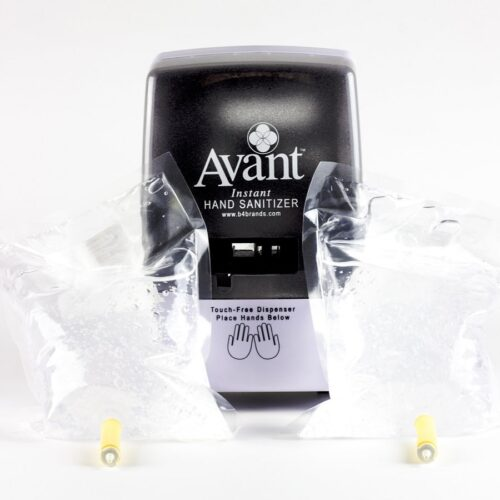 Automatic, Touch-Free Wall Dispenser (9370) plus two refills of Avant Original Fragrance Free Instant Hand Sanitizer (SKU 12089-34T-FF)
