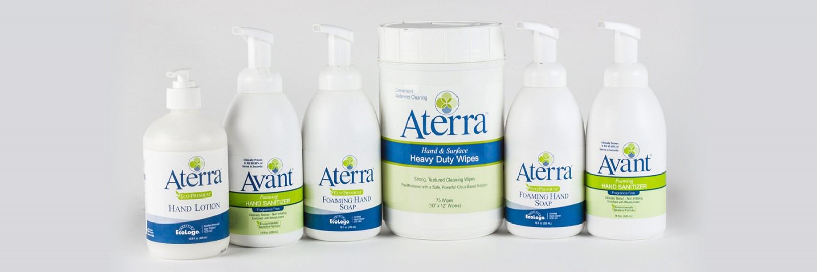 Avant hand sanitizer and Aterra hand soap and lotion
