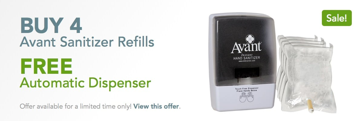Buy 4 hand sanitizer refills, get a FREE automatic dispenser.
