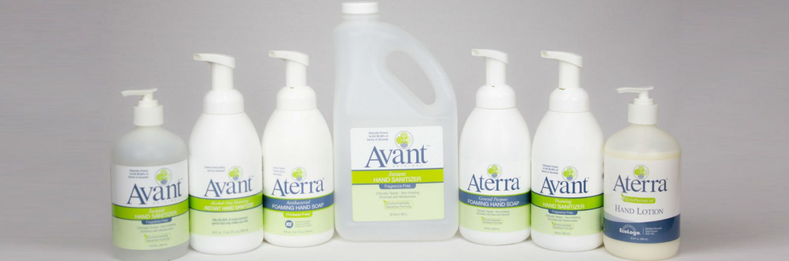 Avant and Aterra hand lotion, sanitizer and soap