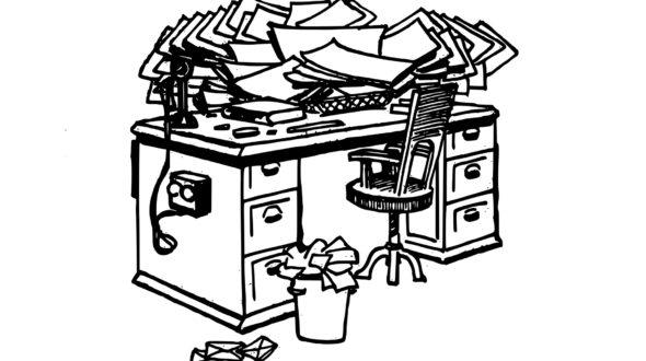 Dirty, messy desk